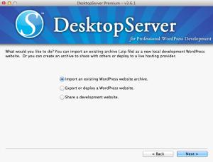 DesktopServer Site Import